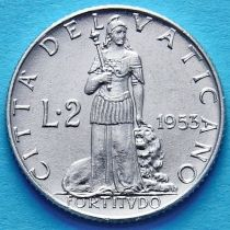 Ватикан 2 лиры 1951-1953 год.
