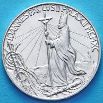 Ватикан 1000 лир 1990 год. Папа Иоанн Павел II. Серебро.