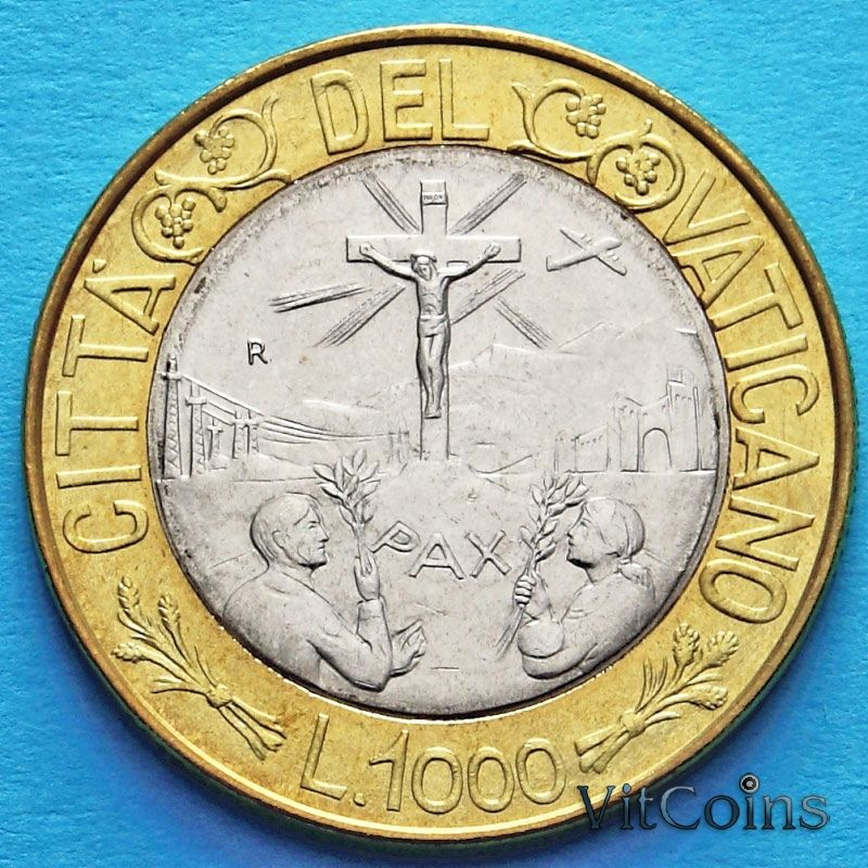 Монета Ватикана 1000 лир 1999 год.
