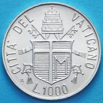 Ватикан 1000 лир 1984 год. Год мира. Серебро.