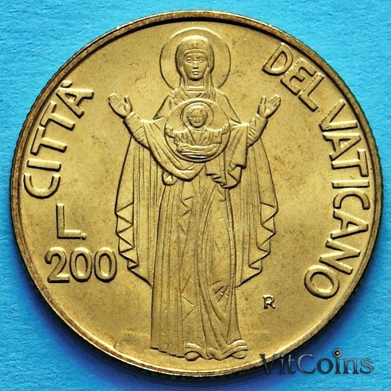 Монета Ватикана 200 лир 1990 год. Благословение Девы Марии.