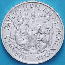 Ватикан 1000 лир 1989 год. Папа Иоанн Павел II. Серебро.