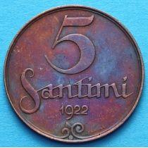Латвия 5 сантимов 1922 год.