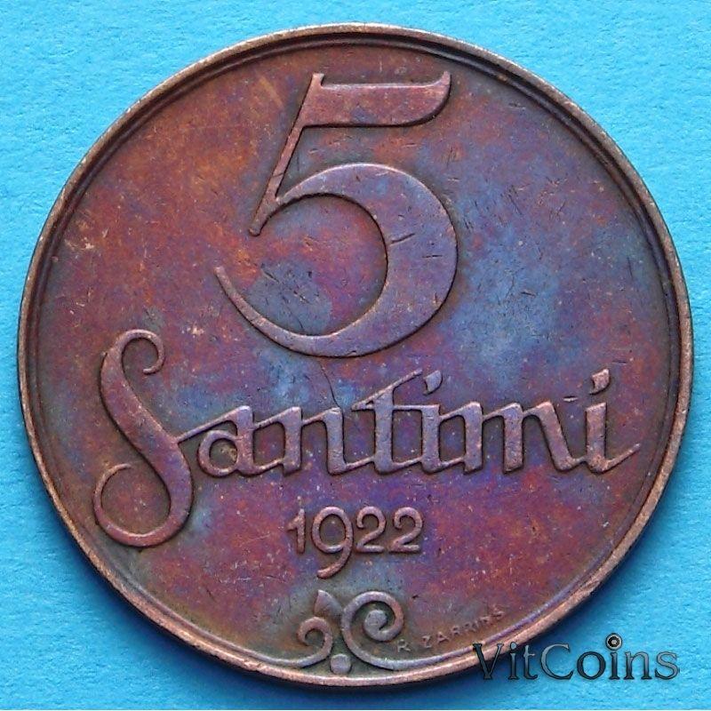 Монеты Латвии 5 сантимов 1922 год.