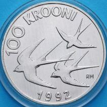 Эстония 100 крон 1992 год. Денежная реформа. Ласточки. Серебро