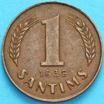 Латвия 1 сантим 1939 год.