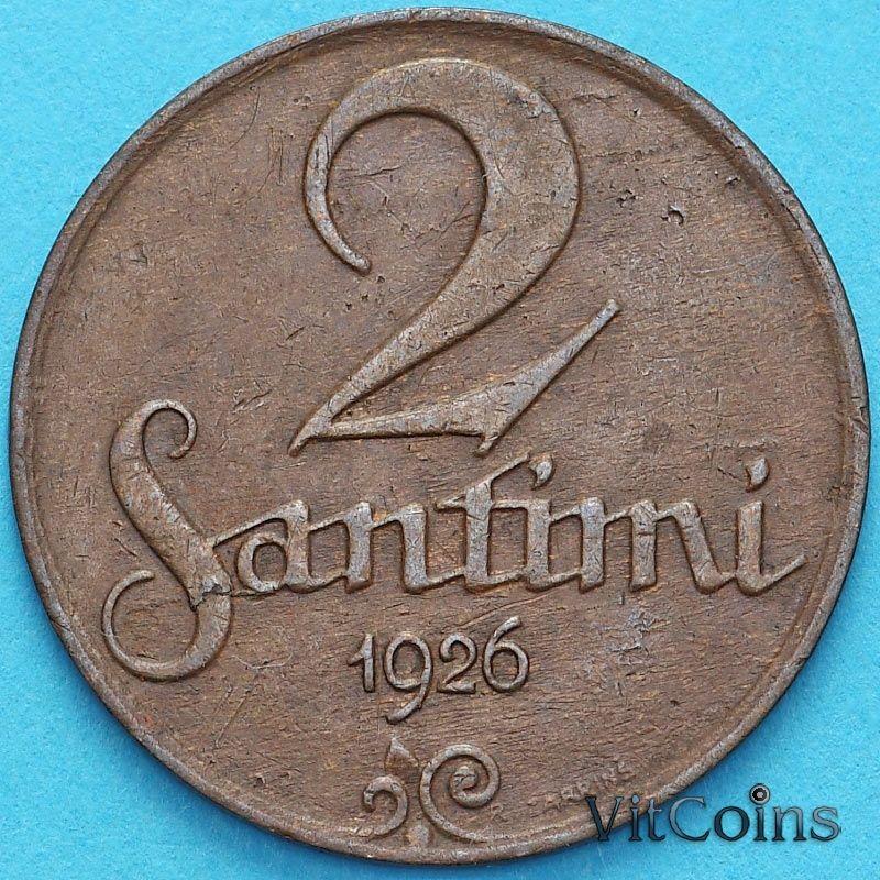Монета Латвия 2 сантима 1926 год.