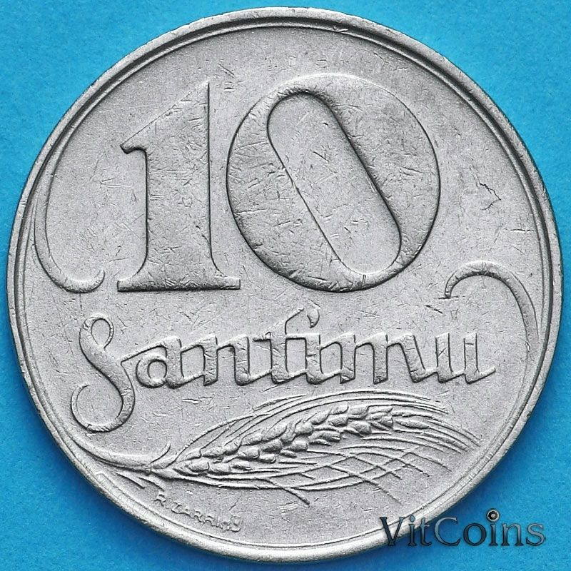 Монеты Латвия 10 сантим 1922 год.