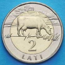 Латвия 2 лата 1999 год. Корова.