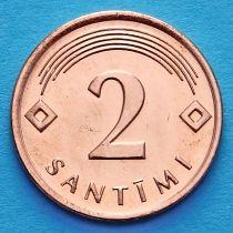 Латвия 2 сантима 2009 год.