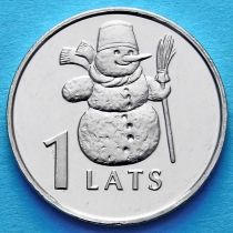 Латвия 1 лат 2007 год. Снеговик.