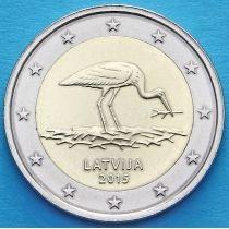 Латвия 2 евро 2015 год. Черный аист.