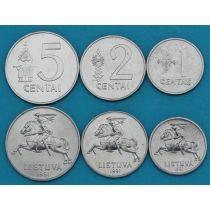 Литва набор 3 монеты 1991 год.