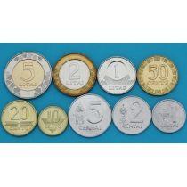 Литва набор 9 монет 1991-2010 год.
