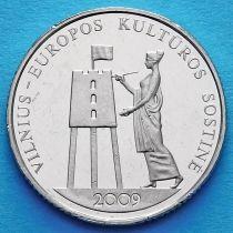 Литва 1 лит 2009 год. Вильнюс — европейская столица.