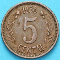 Литва 5 центов 1936 год. №2
