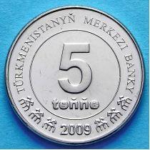 Туркменистан 5 тенге 2009 год.
